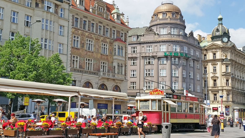 Wenceslas Square has many different architectural styles