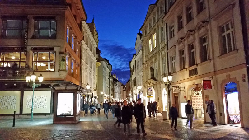 Prague Celetna street at night