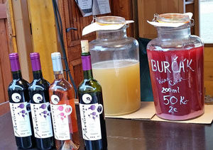 czech burcak early wine for sale on a market stall