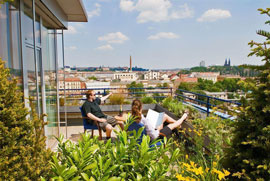 roof top balcony and view from the prague hotel akcent