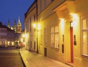 street view of hotel domus henrici with prague castle in background