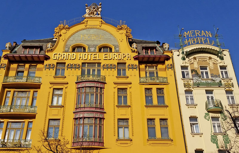 The Grand Hotel Evropa on Wenceslas Square. Built in 1905 with Typical Art Nouveau Organic Details