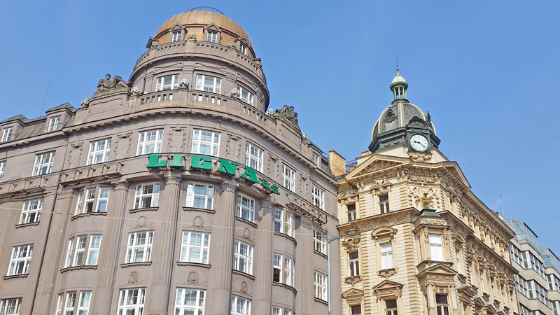 examples of baroque and late baroque architecture on prague's wenceslas square