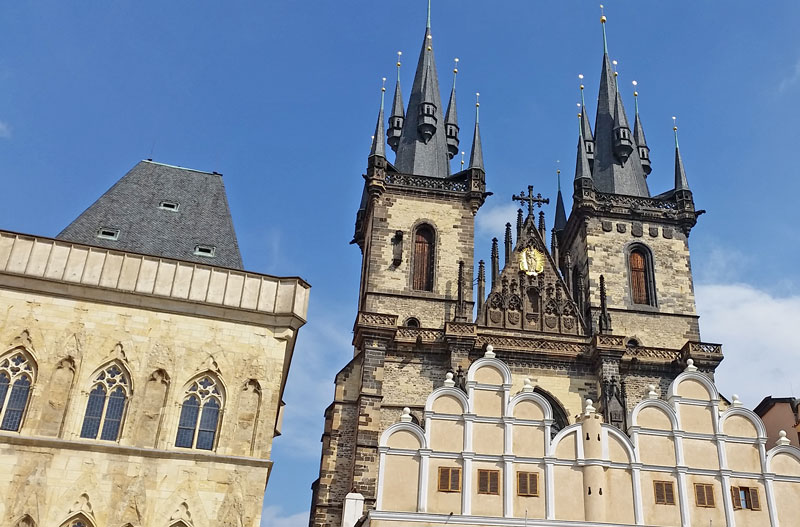 Gothic buildings on the old town square in prague