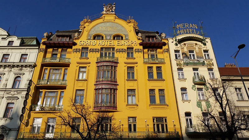 Facade of the Hotel Evropa, Wenceslas Square in Prague