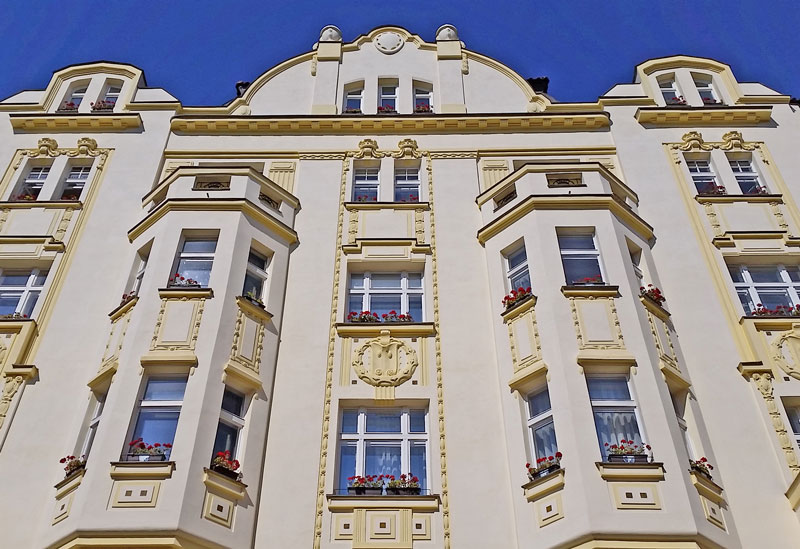 a secessionist building in the old town of prague
