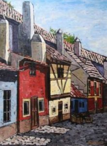 artistic painting of prague castle golden lane