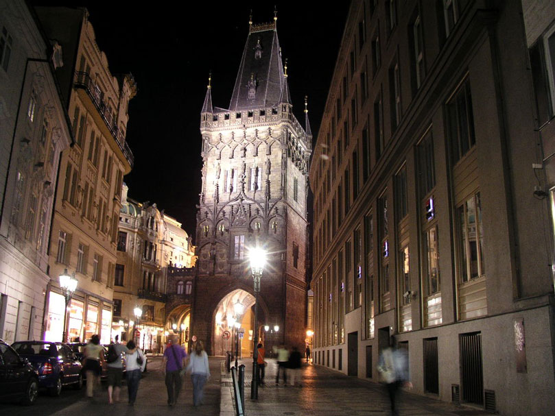 Prague powder gate, a gothic structure with a neo-renaissance facade