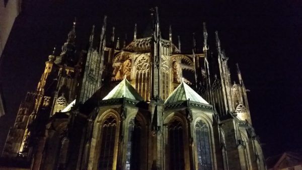 St Vitus Cathedral Prague rear aspect at night