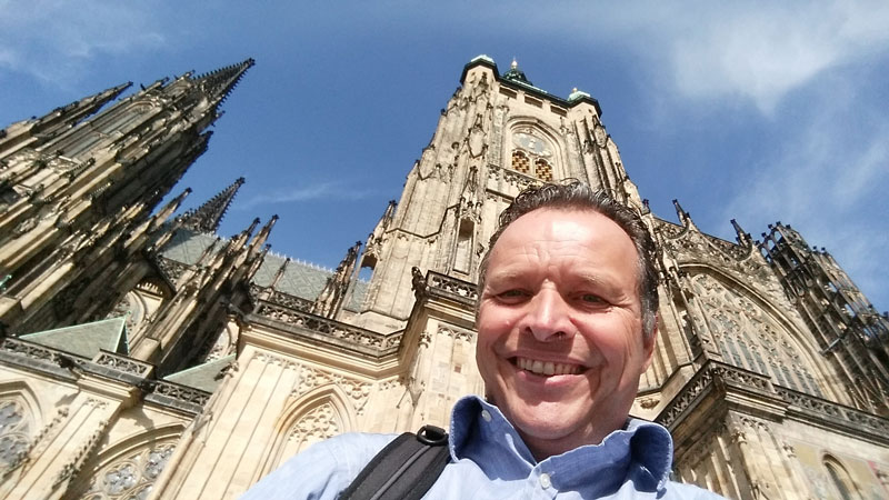 That's me with ST Vitus Cathedral, Prague Castle, in the background