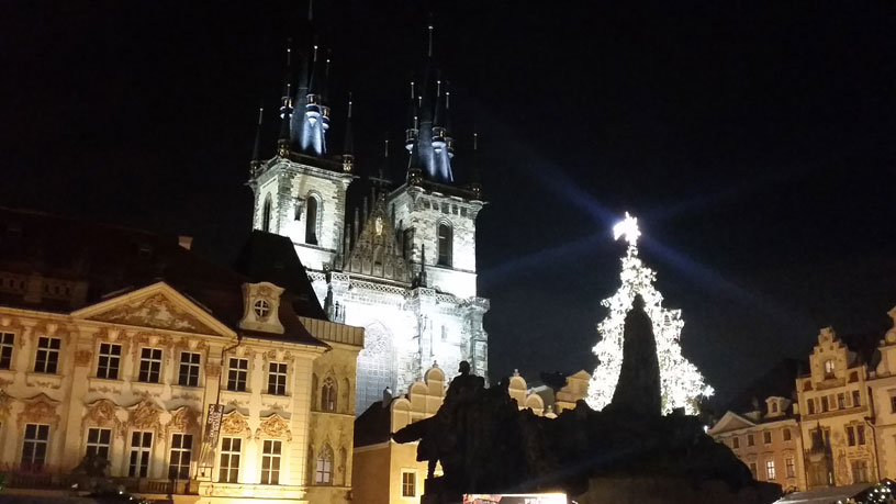 Old town square christmas market in prague