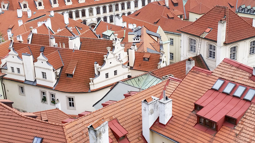 Lesser Town Red Tiled Roofing, View From Castle South Gardens, Prague