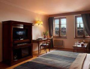 bedroom interior view at the hotel u zlate studne in prague