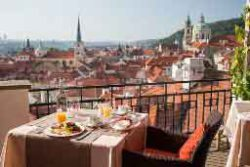 scenic view from the terrace at terasa U zlate studne in prague