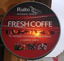 prague signage showing coffee spelled like coffe