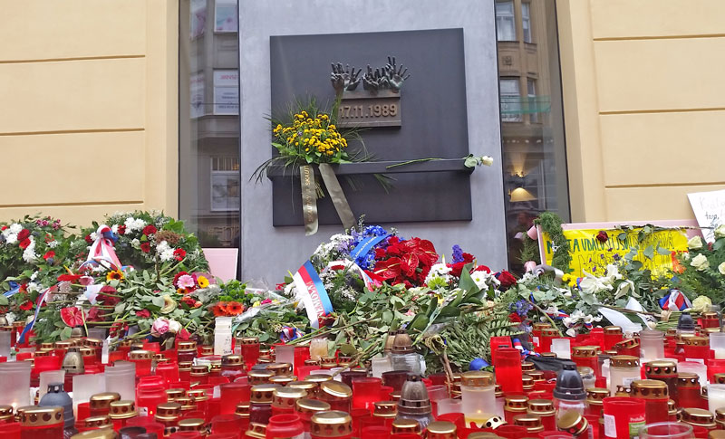 Prague Velvet Revolution Memorial with candles and flowers