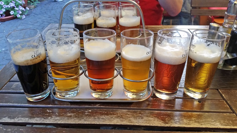 flight of beers in prague