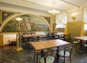 reception and breakfast room of prague hotel taurus