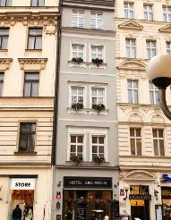 street view and facade of the hotel jungmann in prague