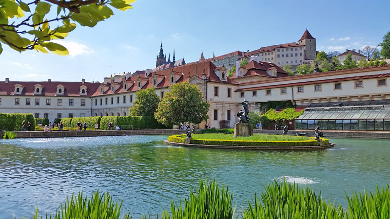 Wallenstein garden with prague castle in background