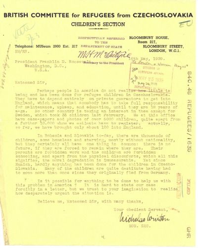 letter from nicholas winton to president roosevelt