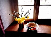 easter decoration on a window sill