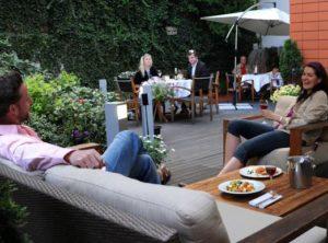 garden terrace at the art hotel in prague holesovice