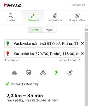 mapy.cz route planner