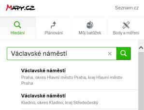 mapy.cz street search function