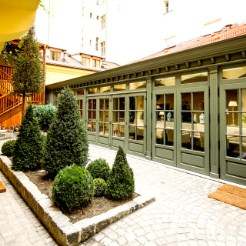 garden of the grand cru restaurant and wine bar in prague