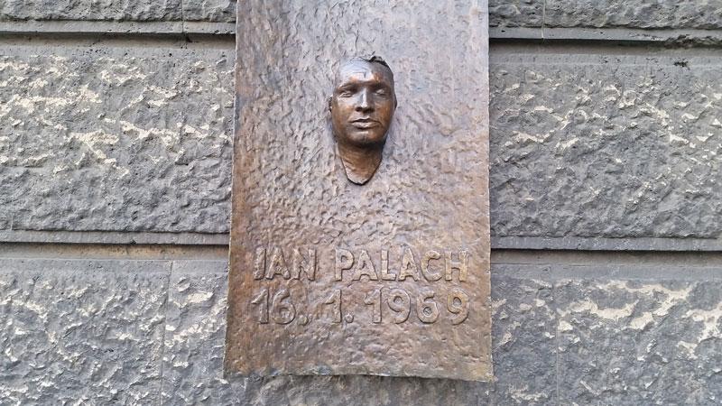 Jan Palach plaque on palackeho namesti