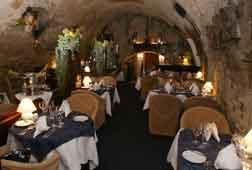 interior basement cellar of the u modre ruze prague restaurant