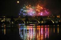 prague river vltava new year fireworks