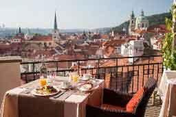 terrace view restaurant u zlate studne in prague