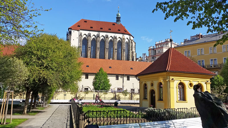 prague franciscan garden formally laid out with monastery and church of our lady of snows in background