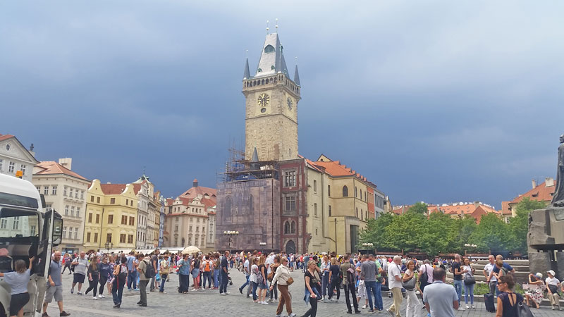 prague summer storm behind the old town hall
