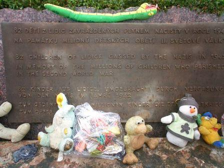 toys at the base of the lidice childrens memorial