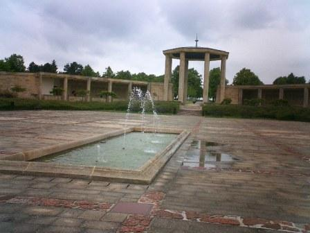 Lidice colonnade, pool and eternal flame