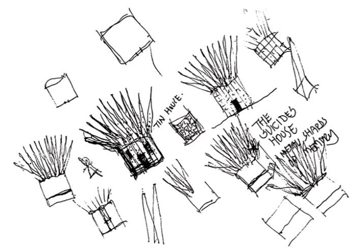hand-drawn sketches showing a small building with spiky roof