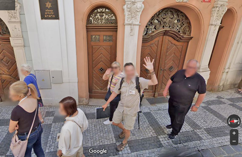 google maps photo showing the author of livingprague during a walking tour