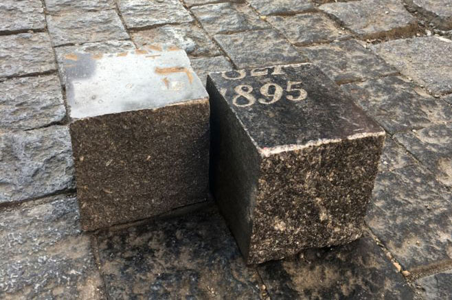 prague cobbles made from jewish headstones