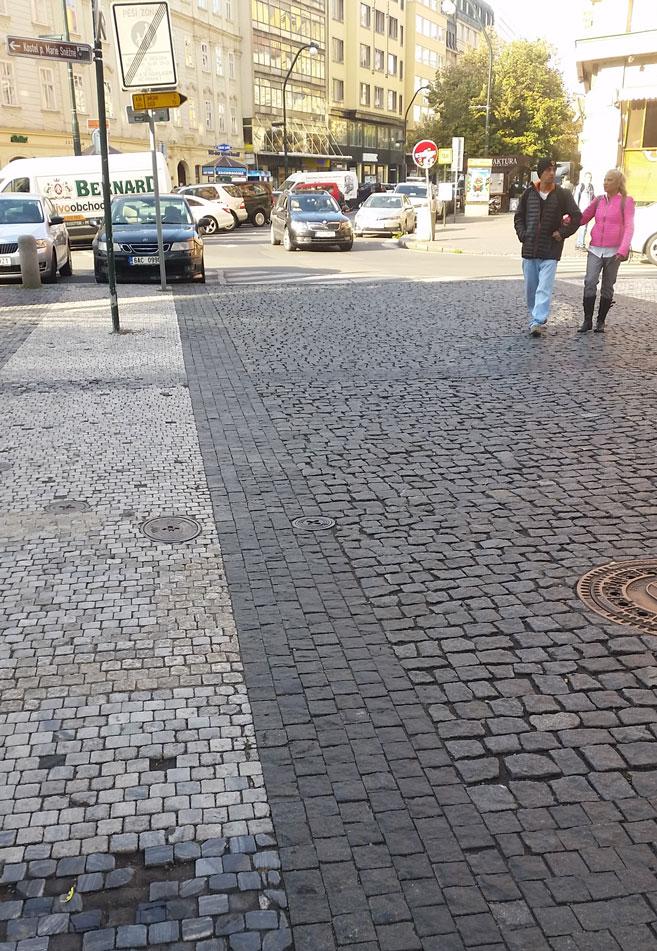 a cobbled street in prague