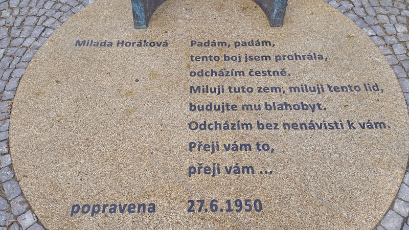 milada horakova memorial plaque in prague next to the czech parliament building