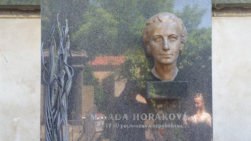 milada horakova headstone in vysehrad cemetery in prague