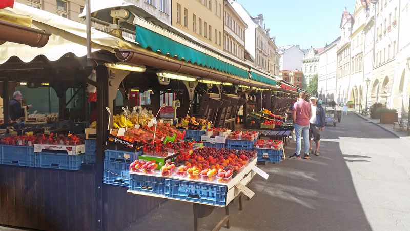 fruit and vegetables at the prague havelska market