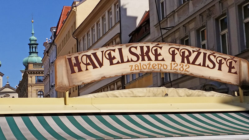 prague havelska street market sign