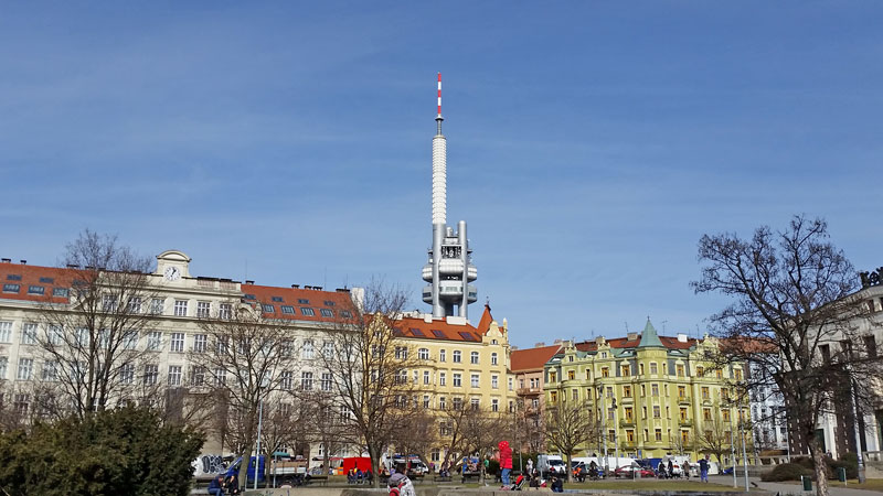 prague tv tower viewed from jiriho z podebrad