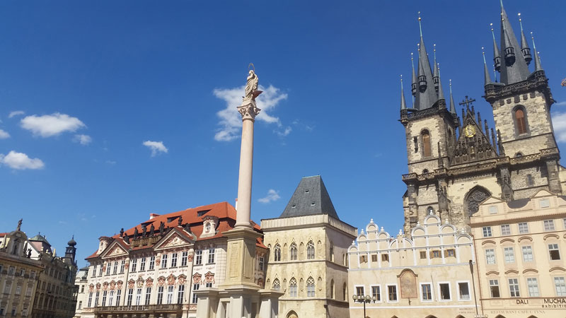 prague marian column made of sandstone standing 20 metres tall on the old town square