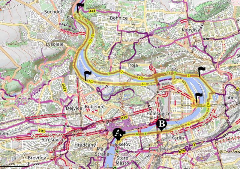 map of prague showing river bend and details of the a2 and a1 bike trails