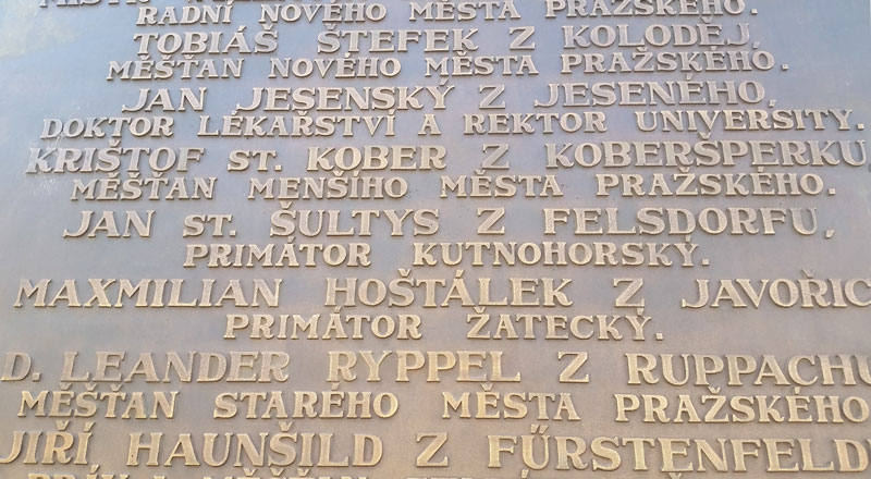detail showing names and roles of people executed on june 21st 1621 on prague old town square